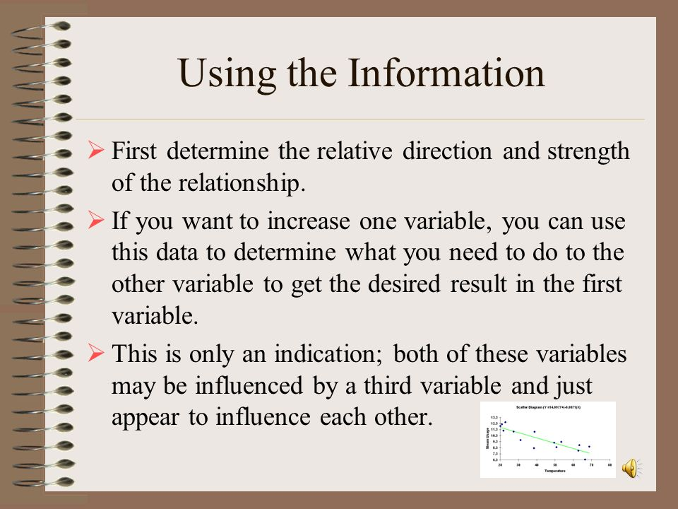 Using the Information First determine the relative direction and strength of the relationship.