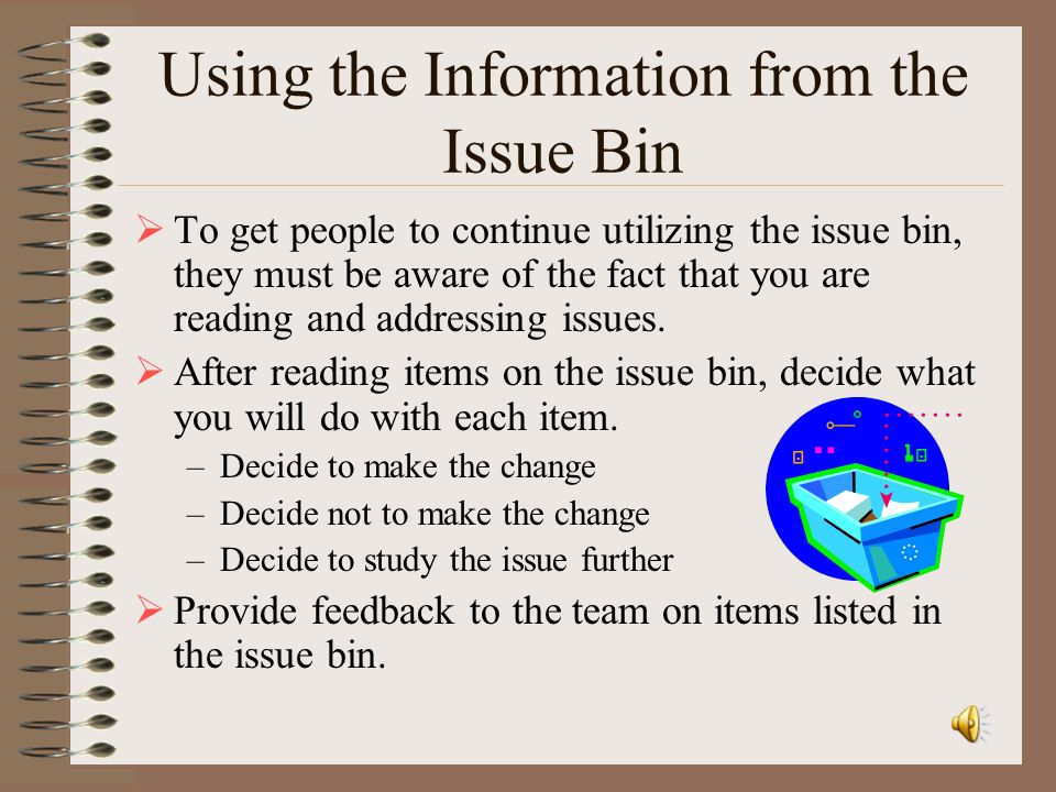 Using the Information from the Issue Bin
