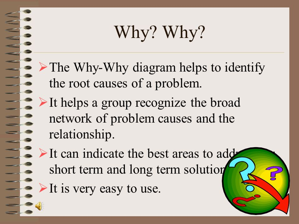 Why Why The Why-Why diagram helps to identify the root causes of a problem.