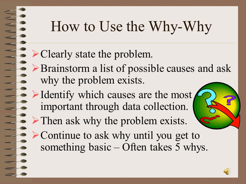 How to Use the Why-Why Clearly state the problem.