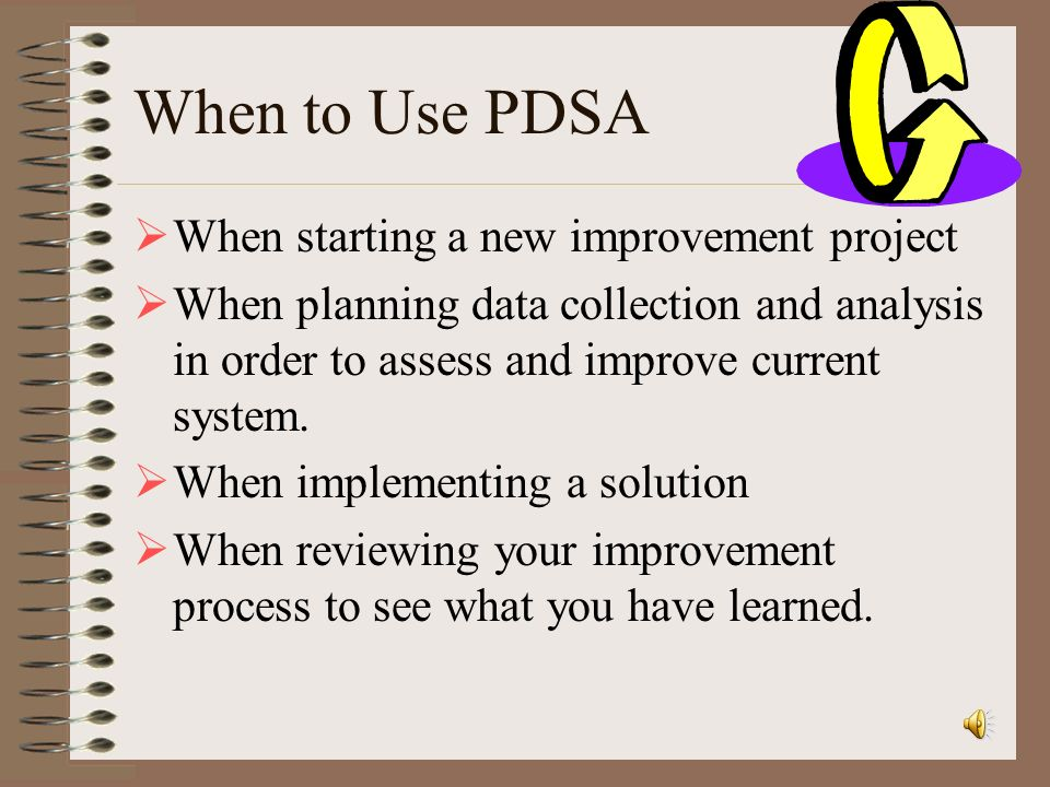 When to Use PDSA When starting a new improvement project