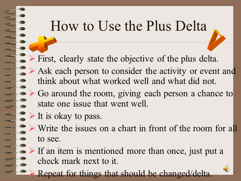 How to Use the Plus Delta