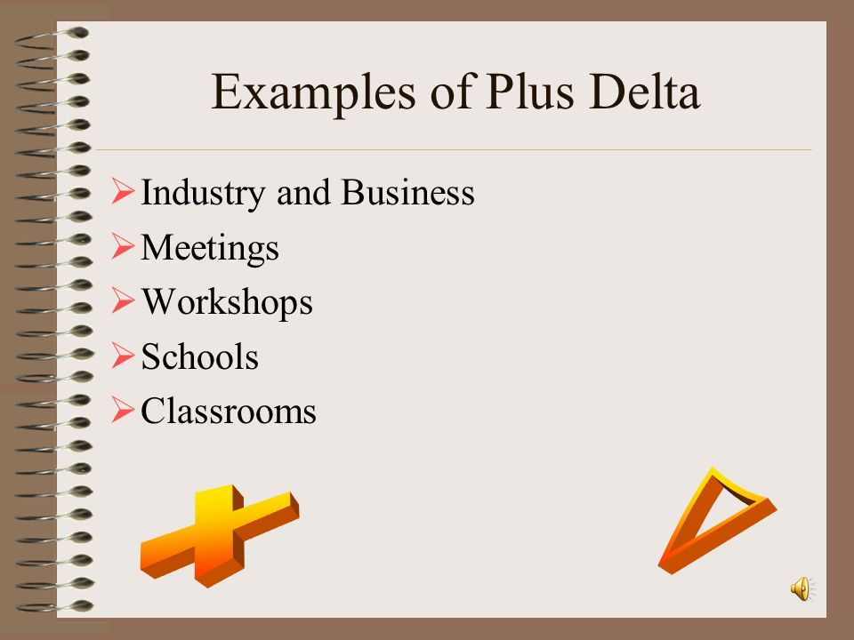 Examples of Plus Delta r + Industry and Business Meetings Workshops