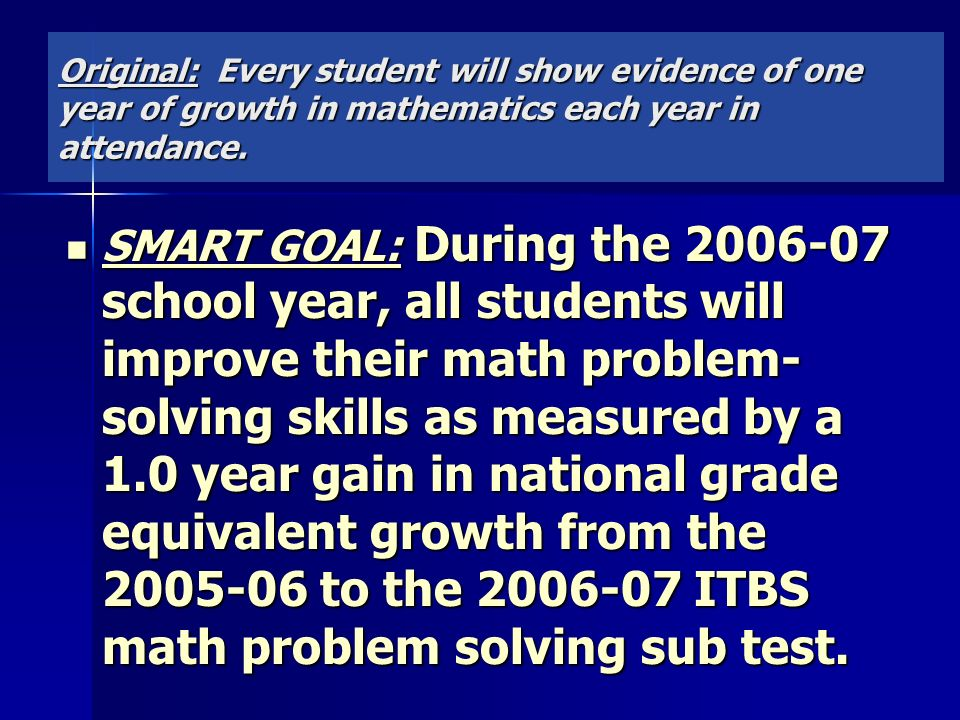 Original: Every student will show evidence of one year of growth in mathematics each year in attendance.