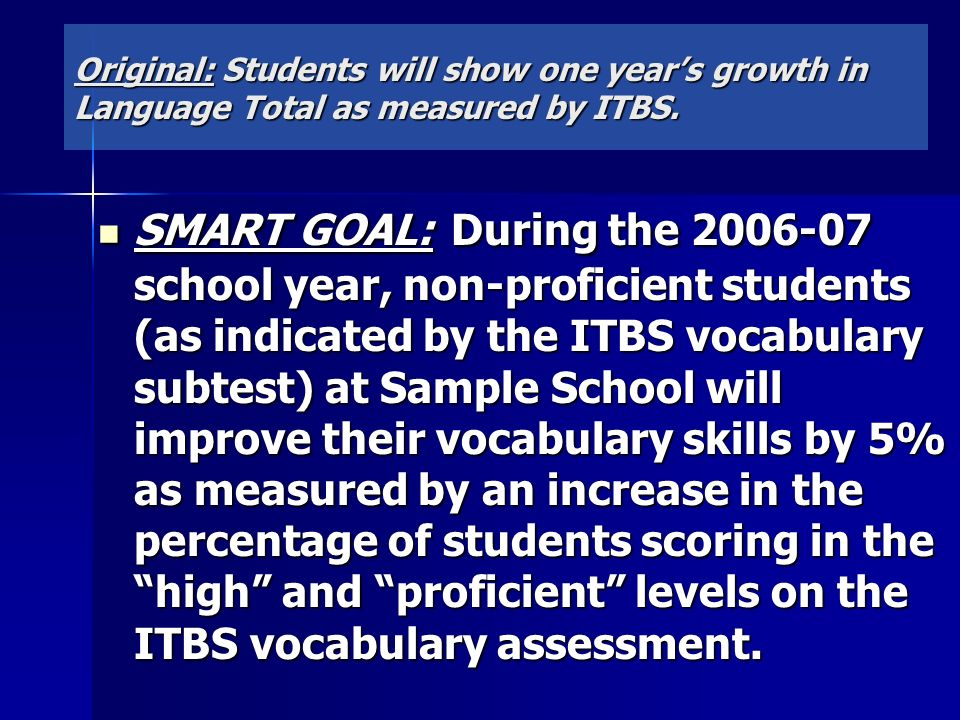 Original: Students will show one year's growth in Language Total as measured by ITBS.