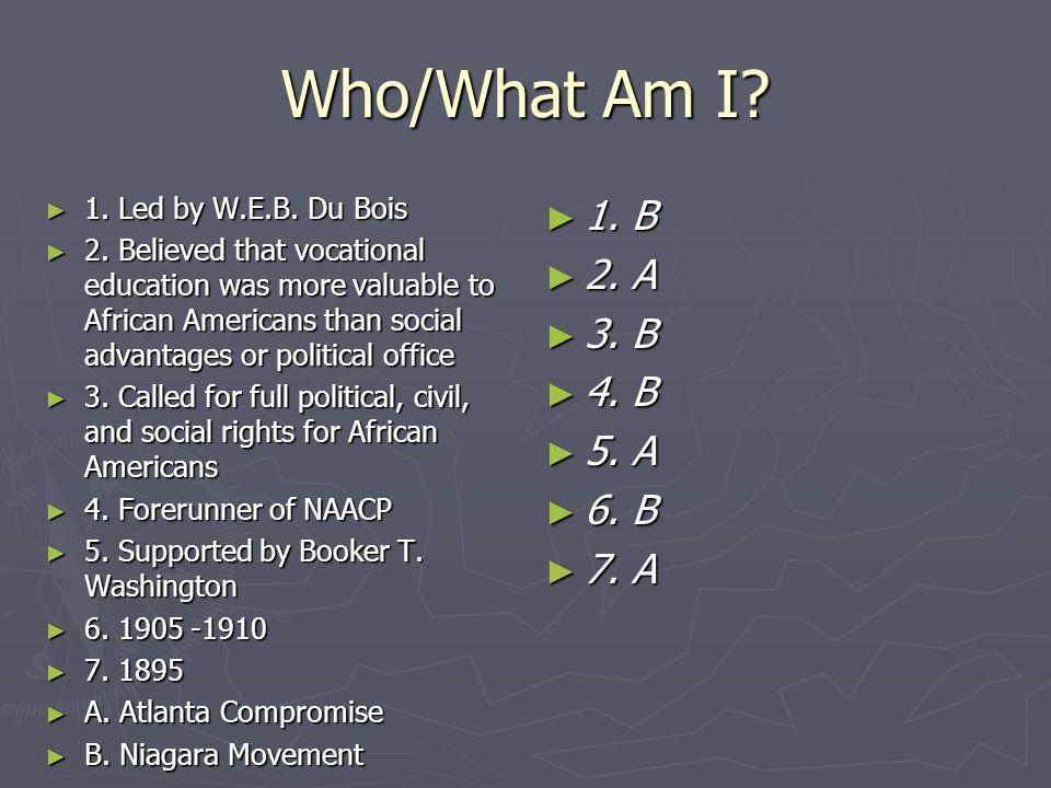 Who/What Am I 1. Led by W.E.B. Du Bois.