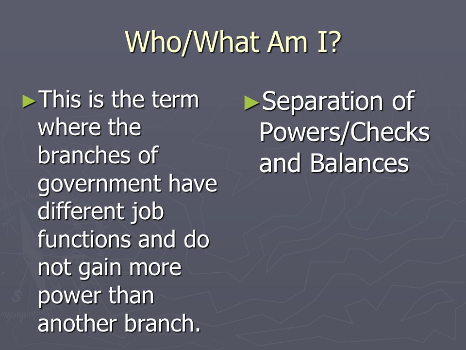 Who/What Am I Separation of Powers/Checks and Balances