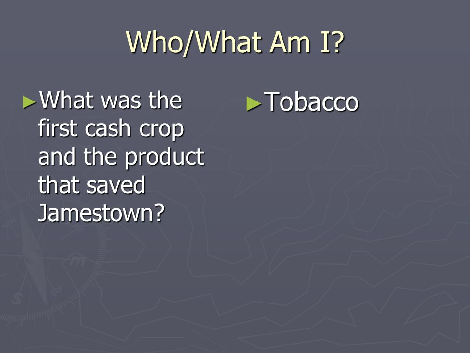 Who/What Am I What was the first cash crop and the product that saved Jamestown Tobacco