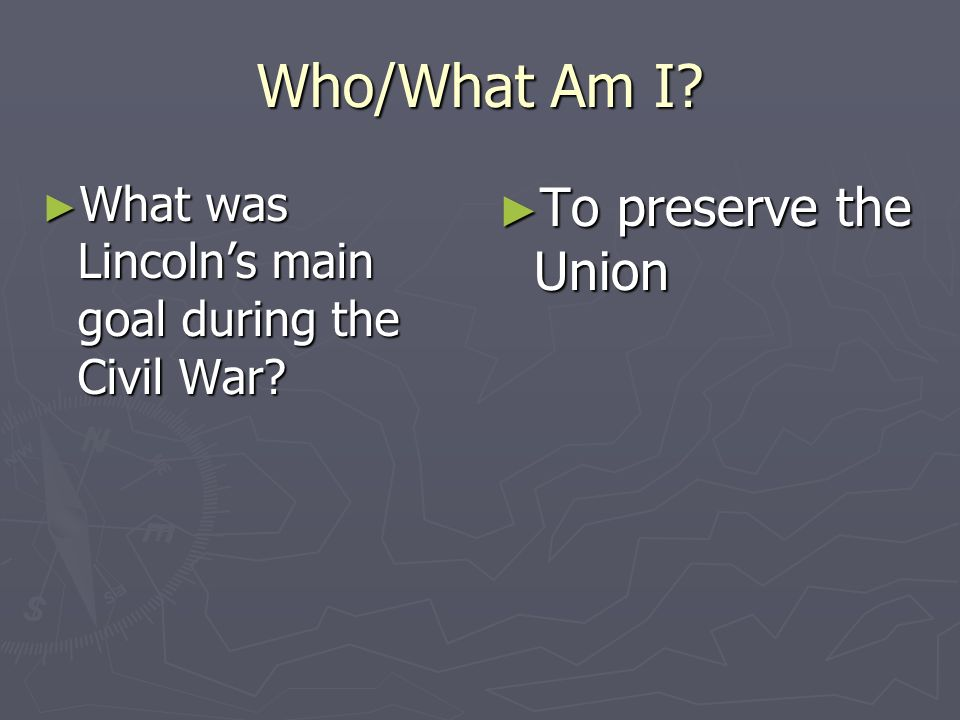Who/What Am I To preserve the Union