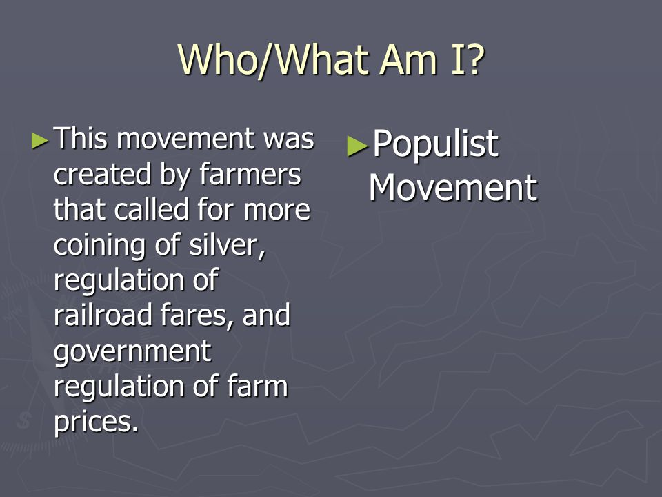Who/What Am I Populist Movement