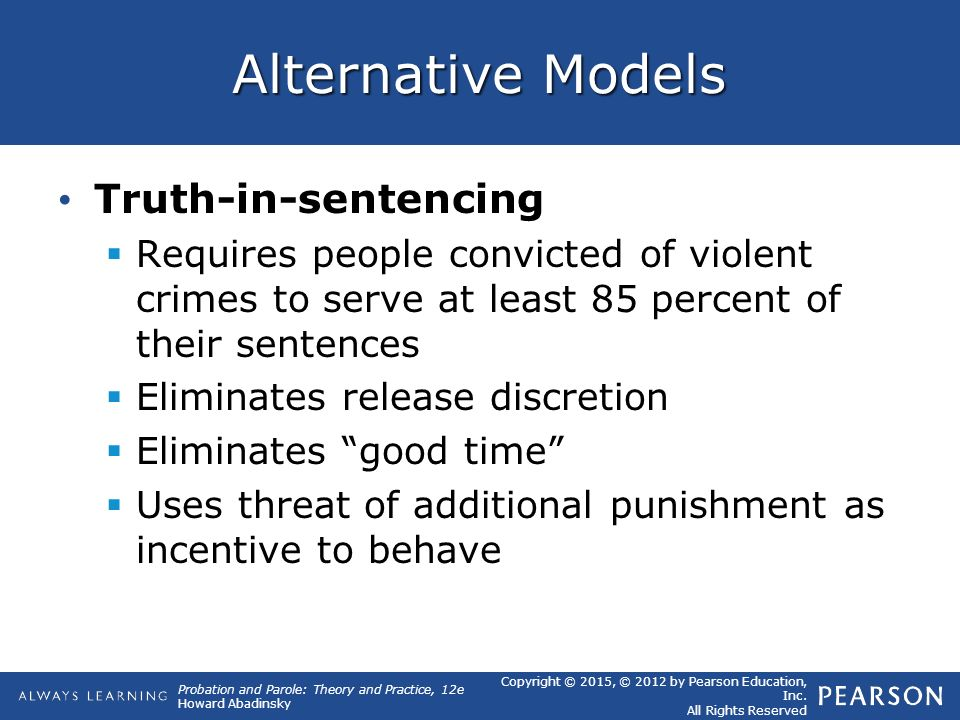 truth in sentencing The united states keeps people locked up for longer, largely thanks to truth in  sentencing laws.