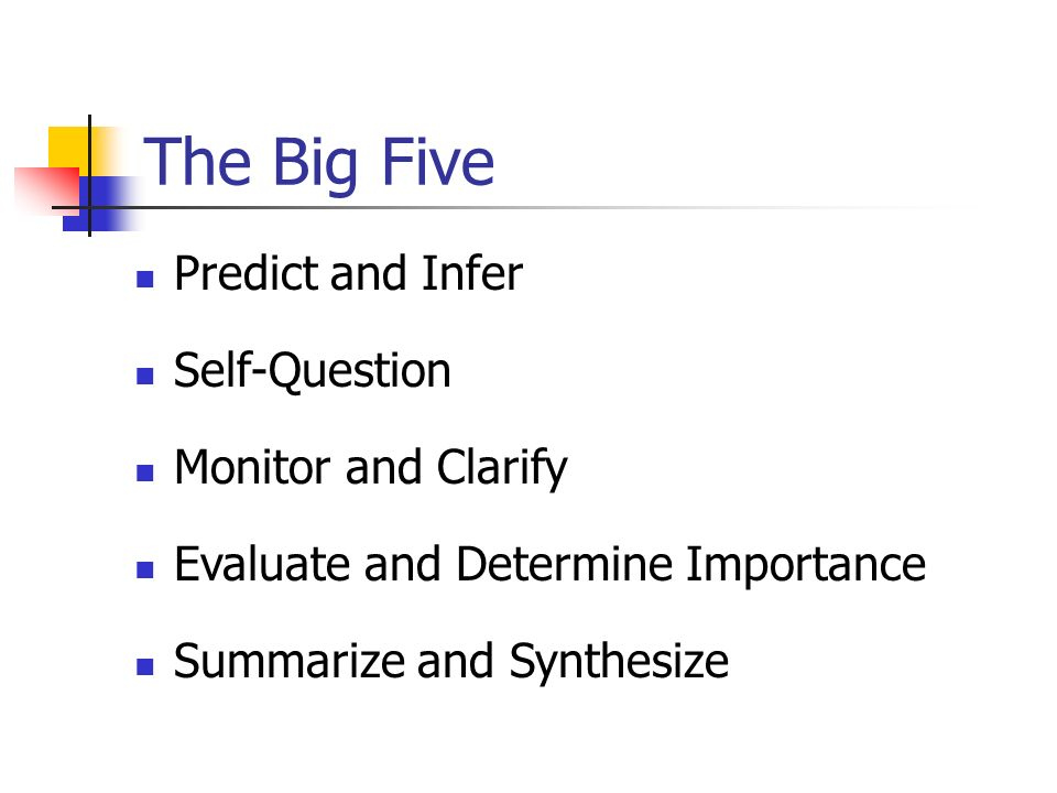 The Big Five Predict and Infer Self-Question Monitor and Clarify