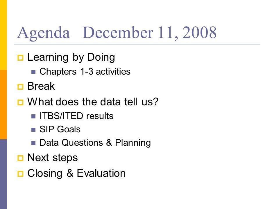 Agenda December 11, 2008 Learning by Doing Break