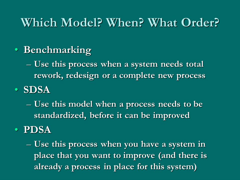 Which Model When What Order