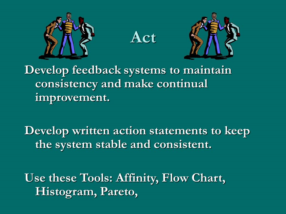 Act Develop feedback systems to maintain consistency and make continual improvement.