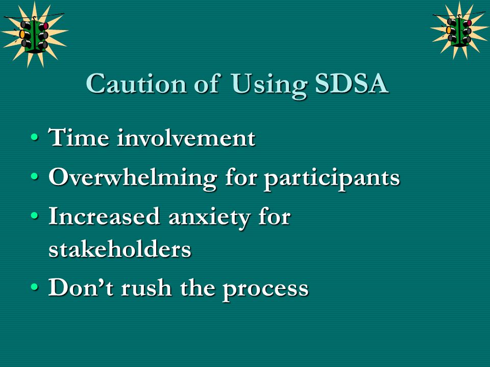 Caution of Using SDSA Time involvement Overwhelming for participants
