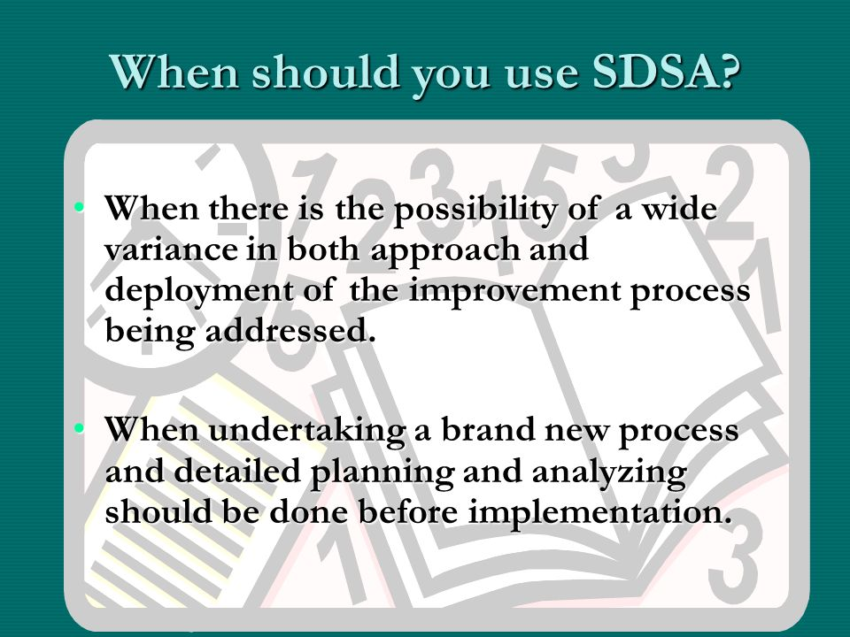 When should you use SDSA