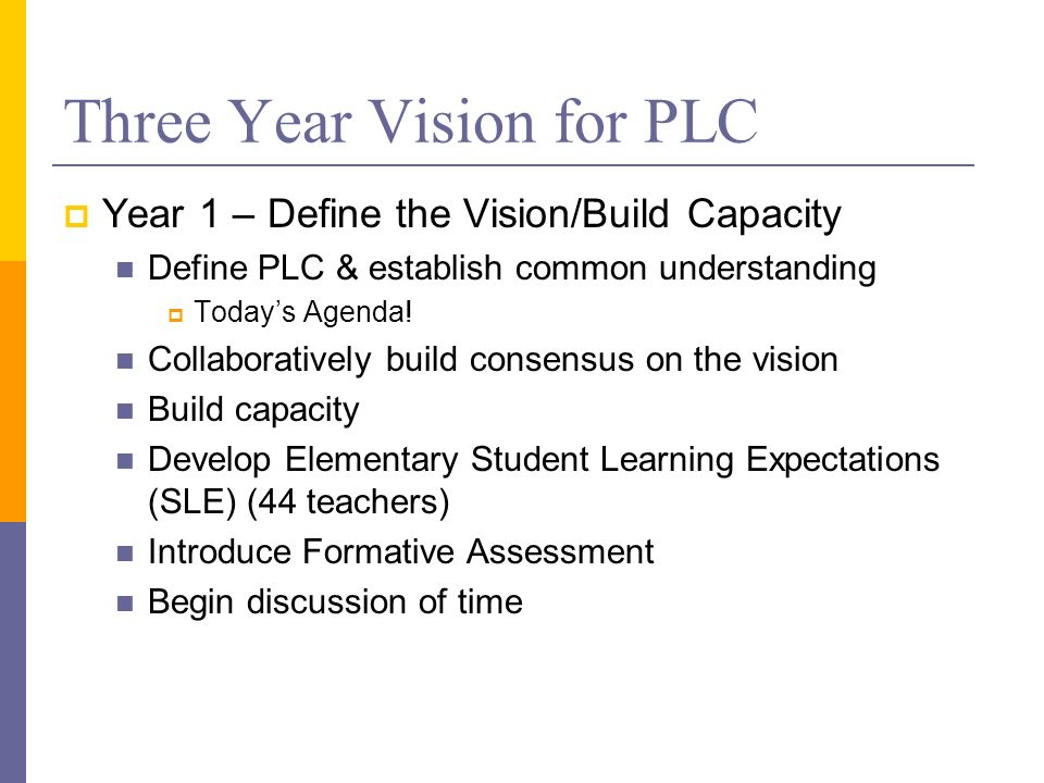 Three Year Vision for PLC