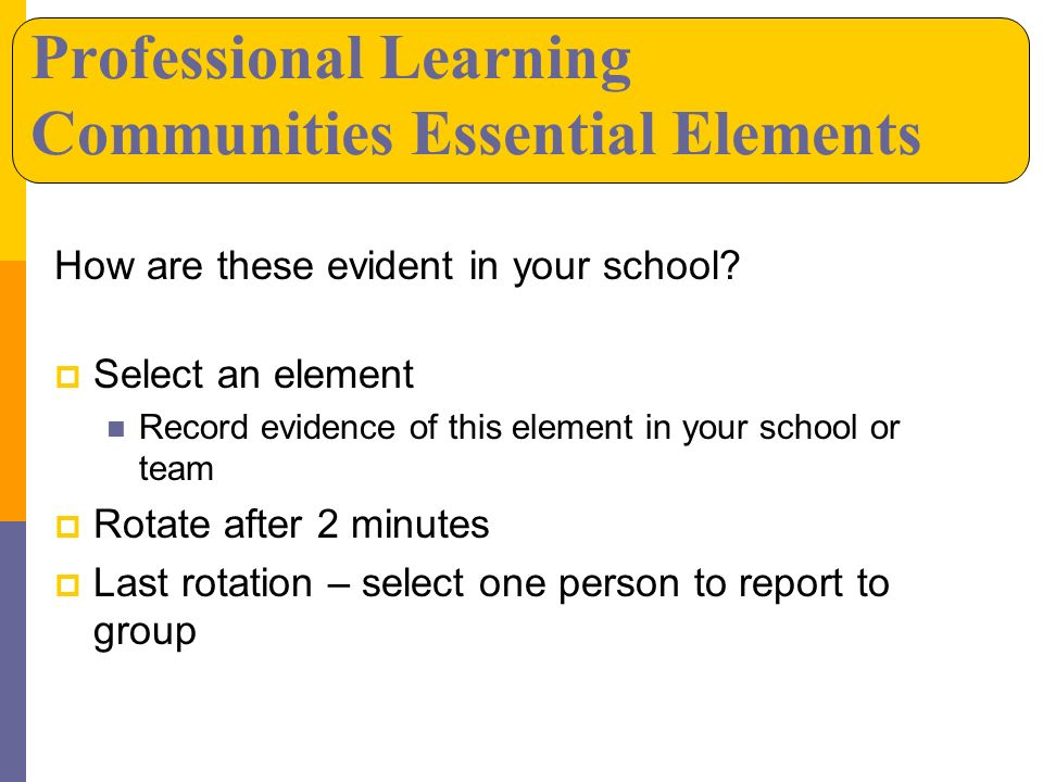 Professional Learning Communities Essential Elements