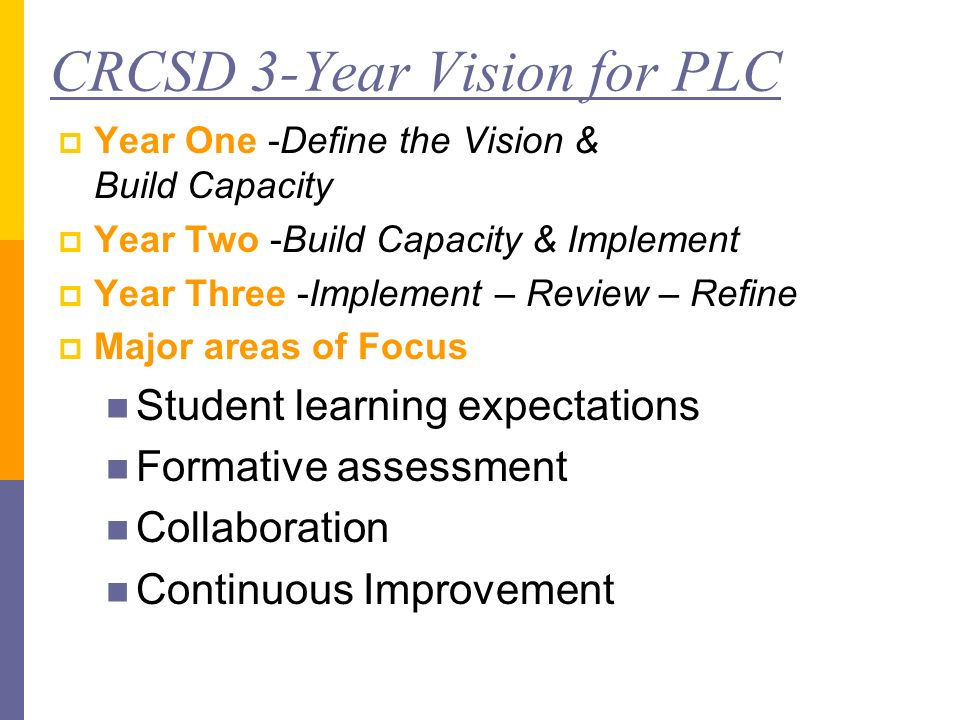CRCSD 3-Year Vision for PLC