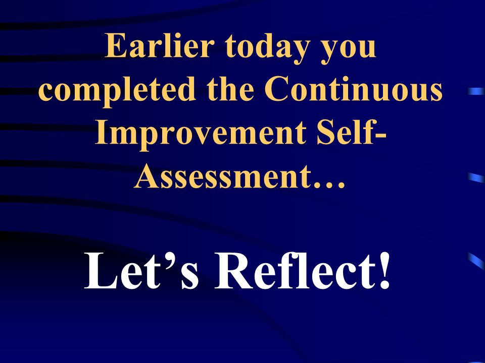 Earlier today you completed the Continuous Improvement Self-Assessment…