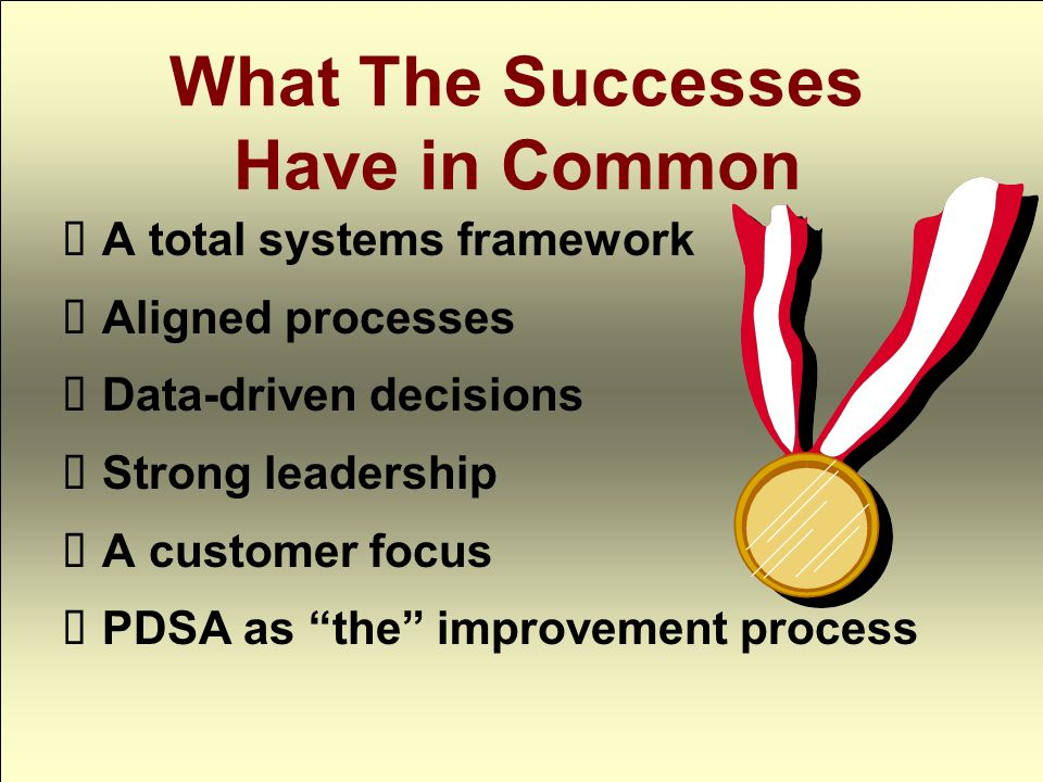 What The Successes Have in Common