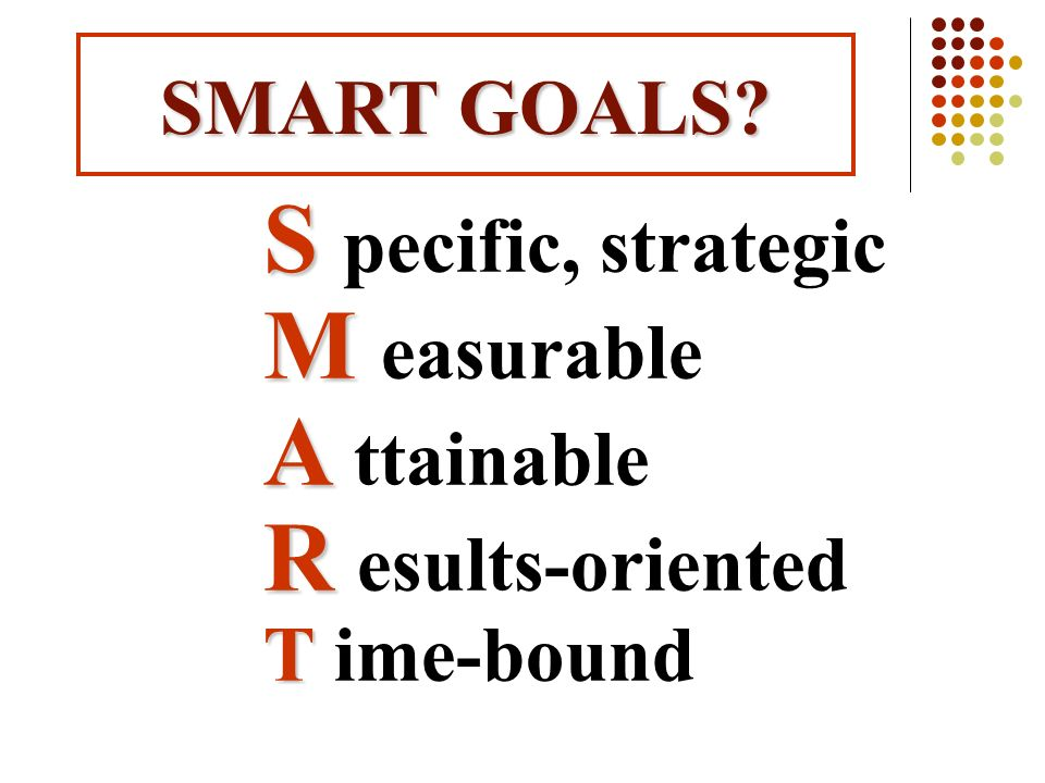 SMART GOALS M easurable A ttainable R esults-oriented T ime-bound