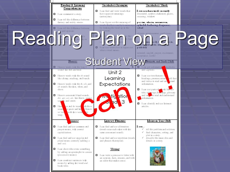 I can…! Reading Plan on a Page Student View I can statements Student