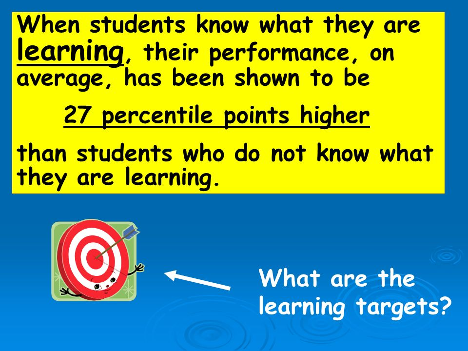 When students know what they are learning, their performance, on average, has been shown to be