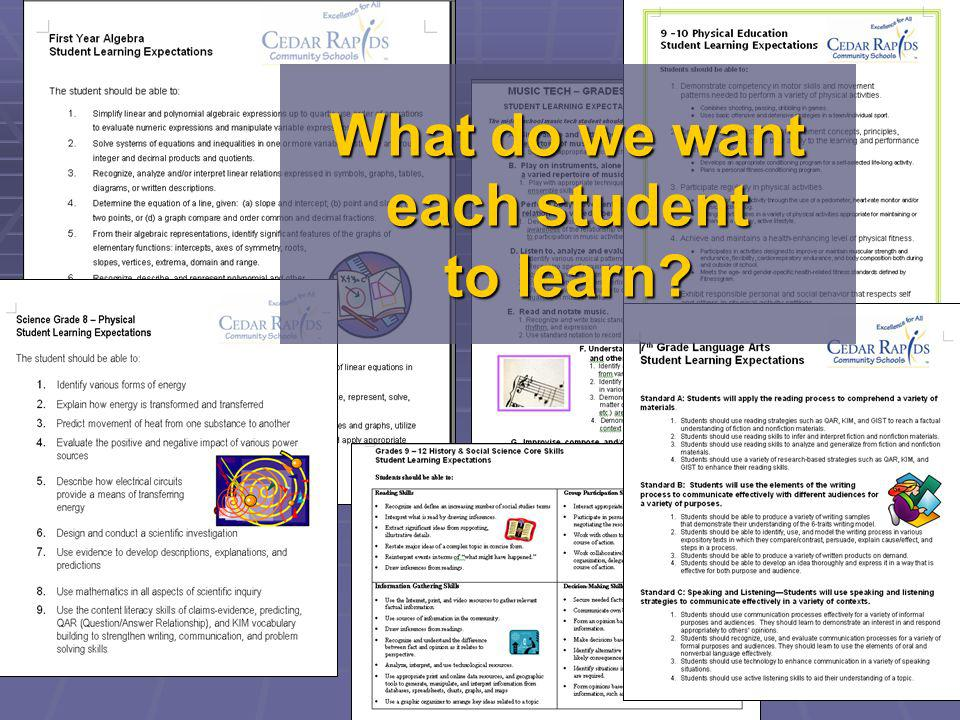 What do we want each student to learn
