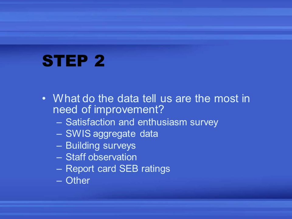 STEP 2 What do the data tell us are the most in need of improvement