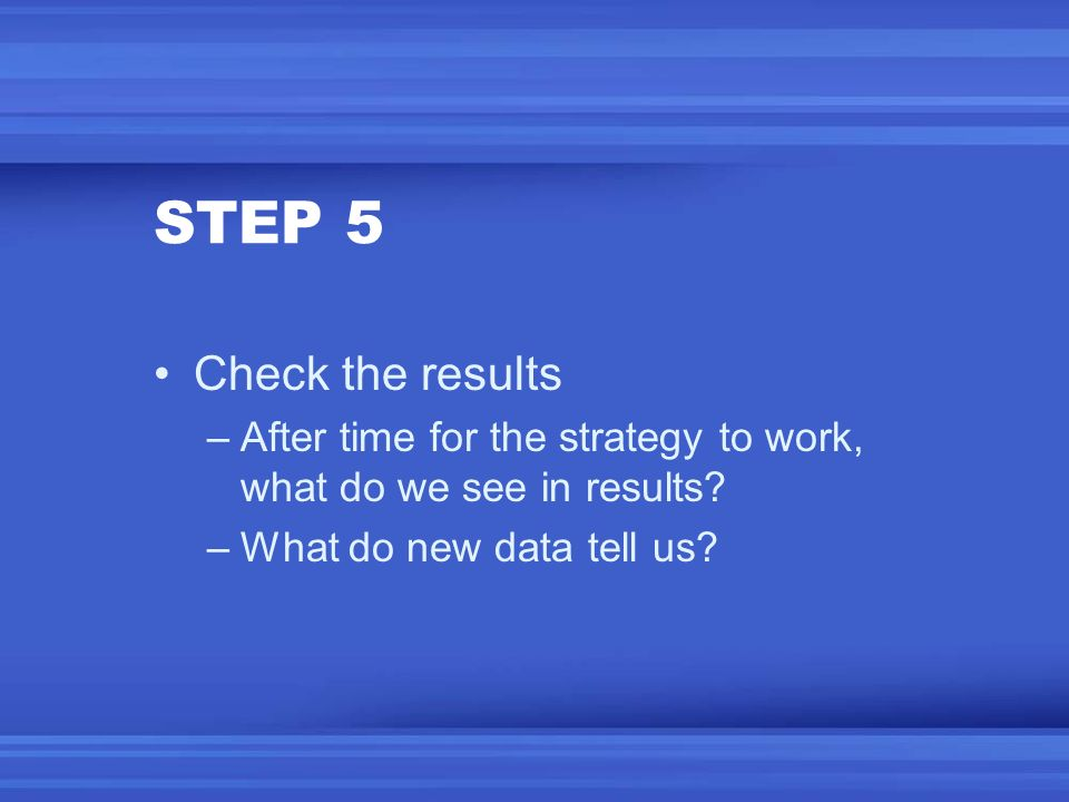 STEP 5 Check the results. After time for the strategy to work, what do we see in results.