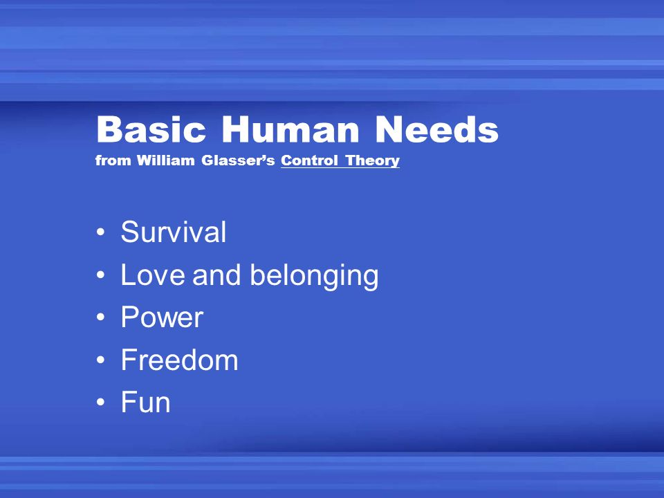 Basic Human Needs from William Glasser's Control Theory