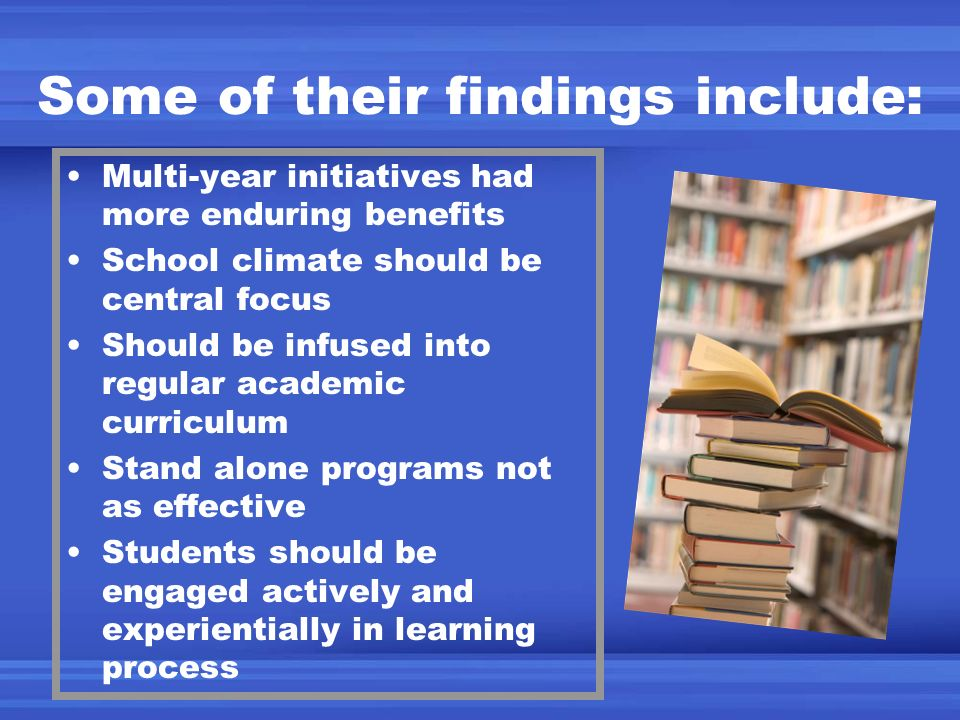 Some of their findings include: