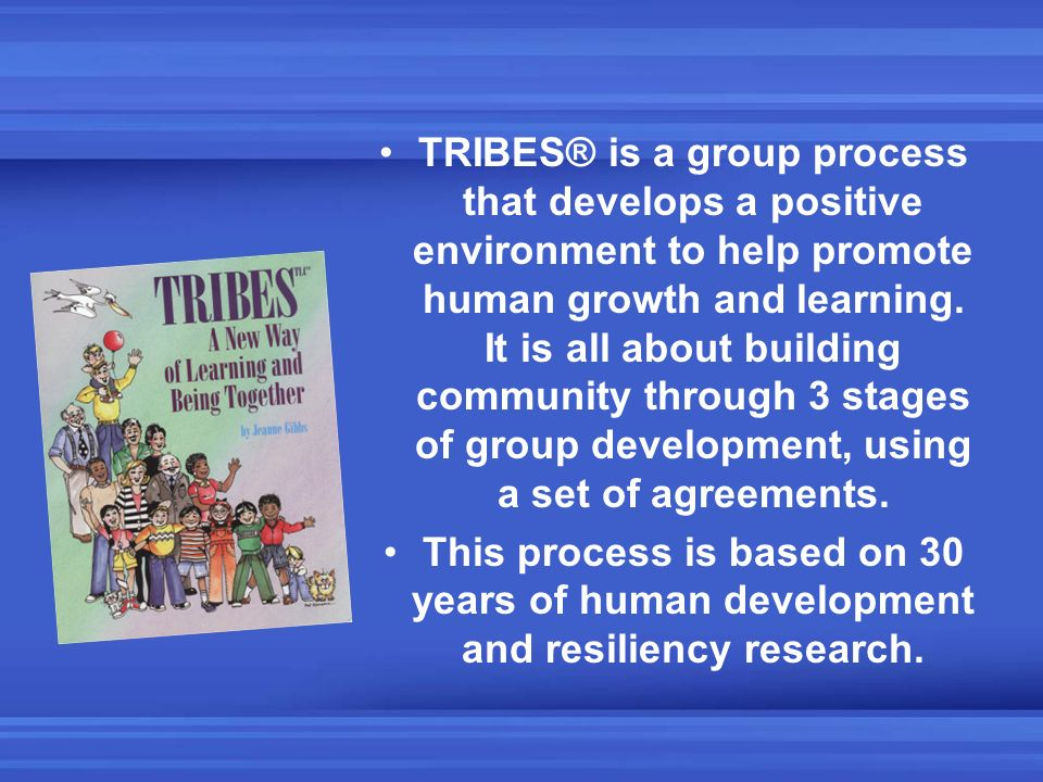 TRIBES® is a group process that develops a positive environment to help promote human growth and learning. It is all about building community through 3 stages of group development, using a set of agreements.