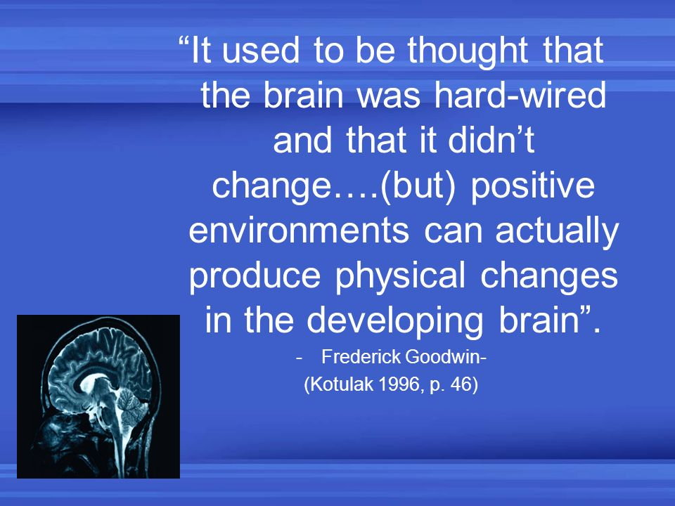 It used to be thought that the brain was hard-wired and that it didn't change….(but) positive environments can actually produce physical changes in the developing brain .