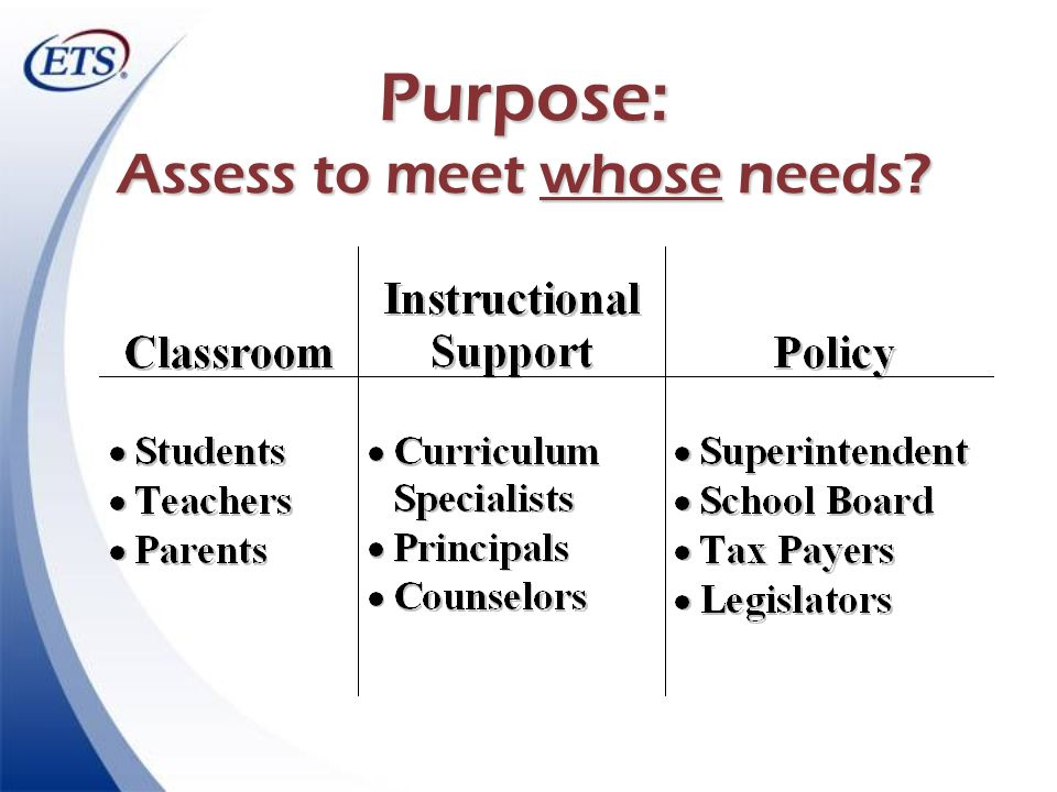 Purpose: Assess to meet whose needs