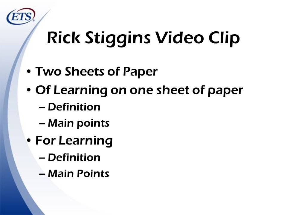 Rick Stiggins Video Clip
