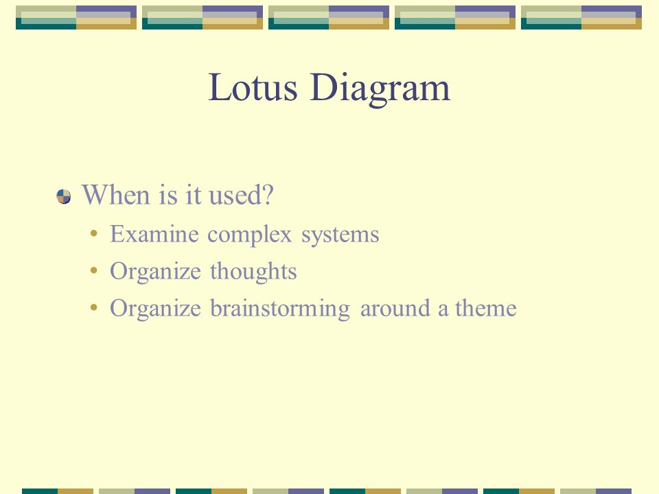 Lotus Diagram When is it used Examine complex systems