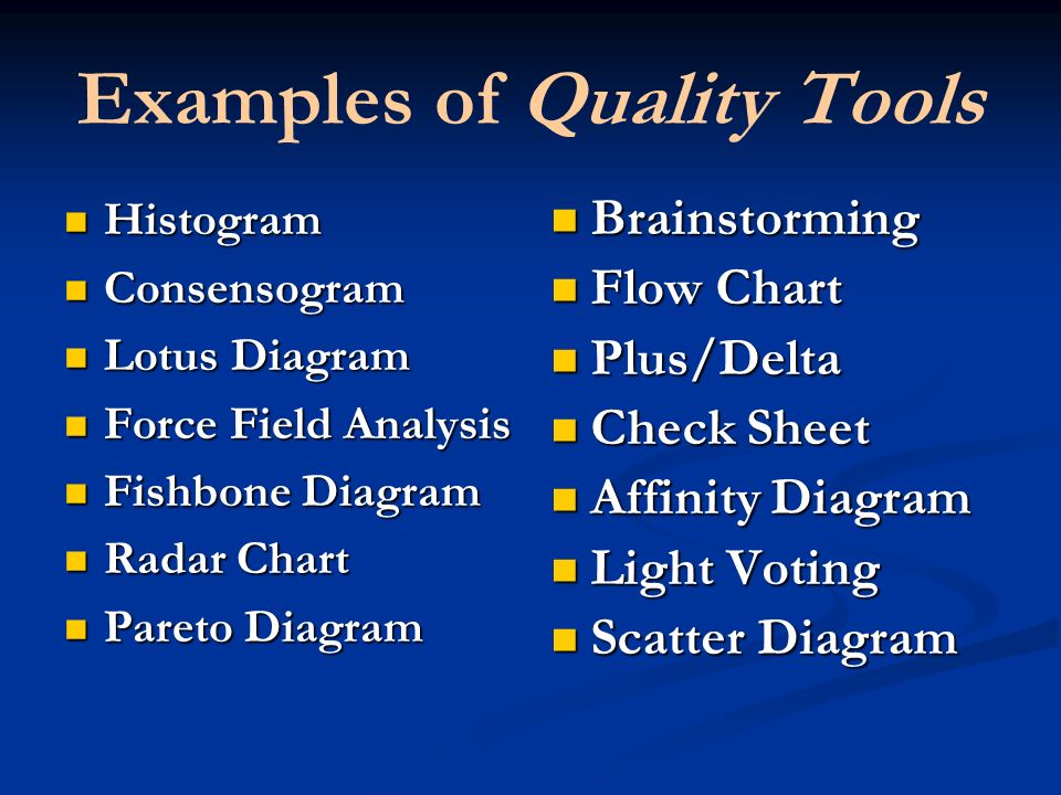 Examples of Quality Tools