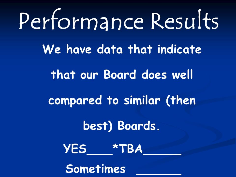 Performance Results We have data that indicate that our Board does well compared to similar (then best) Boards.