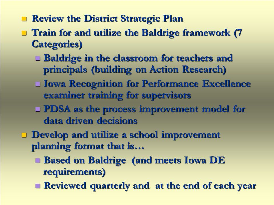 Review the District Strategic Plan