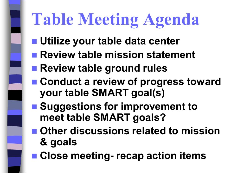 Table Meeting Agenda Utilize your table data center