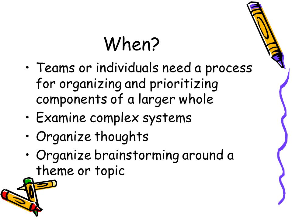 When Teams or individuals need a process for organizing and prioritizing components of a larger whole.