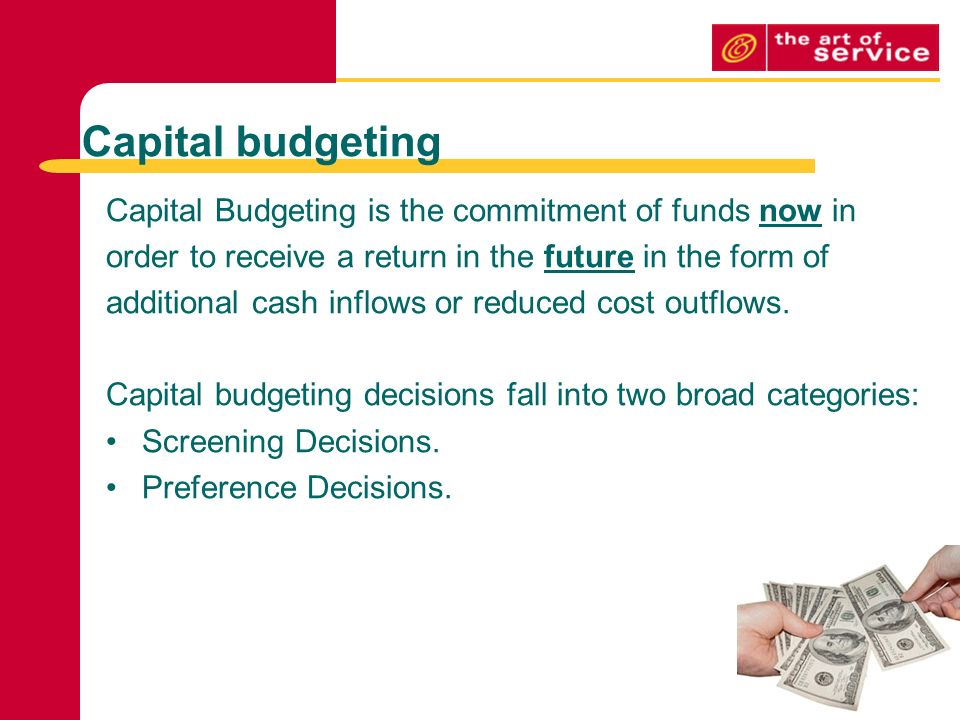 the difference between capital budgeting screening decisions and capital budgeting preference decisi What is the difference between capital budgeting screening decisions and capital budgeting preference decisions 13-1 a capital budgeting screening decision is concerned with whether a proposed investment project passes a preset hurdle, such as a 15% rate of return.
