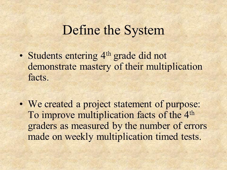 Define the System Students entering 4th grade did not demonstrate mastery of their multiplication facts.