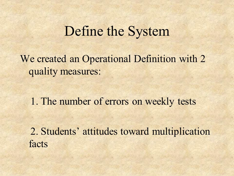 Define the System We created an Operational Definition with 2 quality measures: 1. The number of errors on weekly tests.