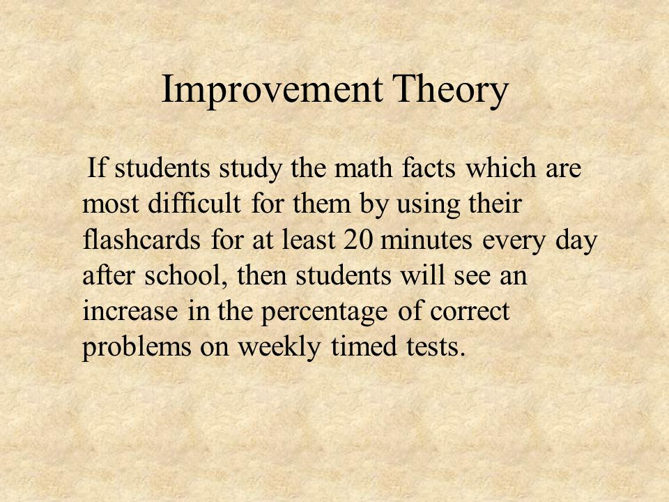 Improvement Theory
