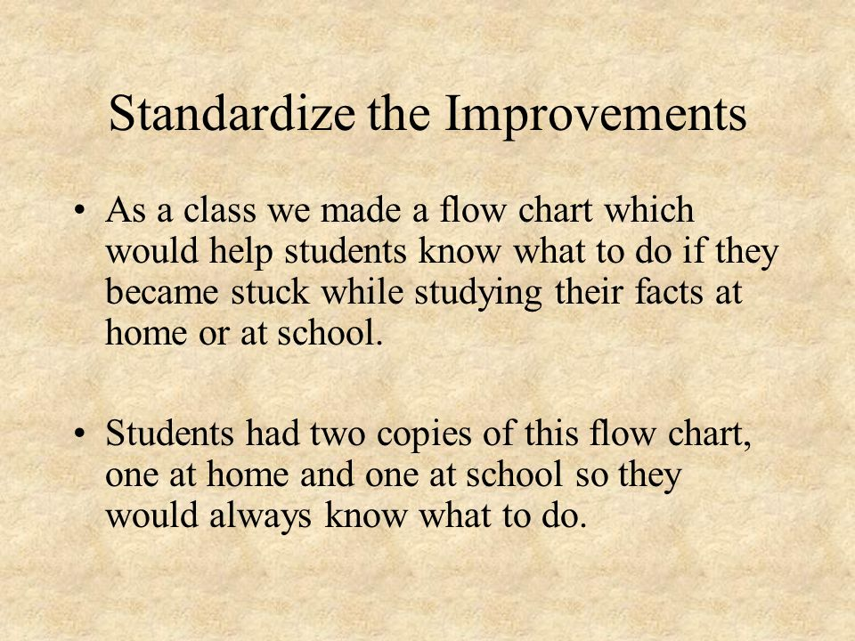 Standardize the Improvements