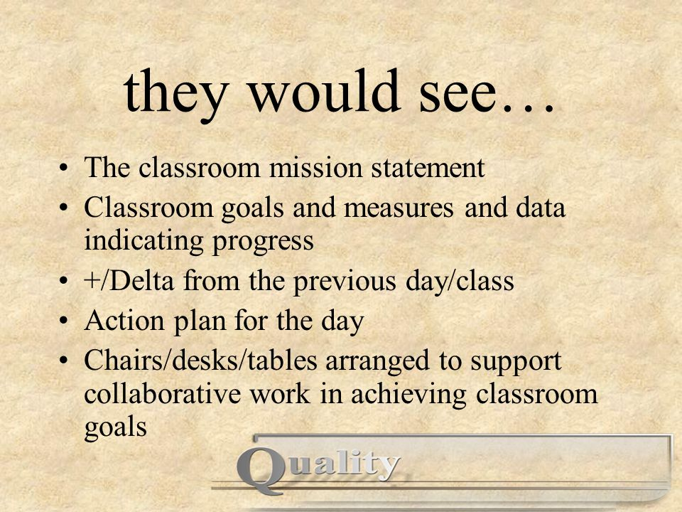 they would see… The classroom mission statement